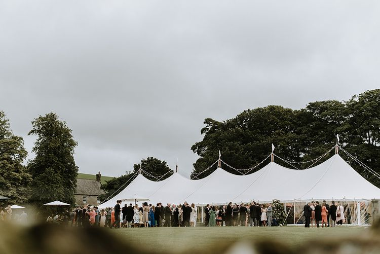 Tent Wedding with Guests on Farm