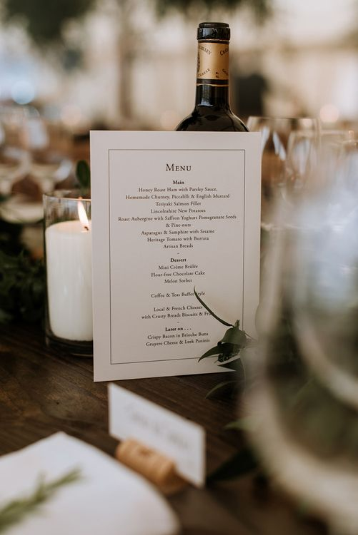 Classic Wedding Breakfast Menu and Candle