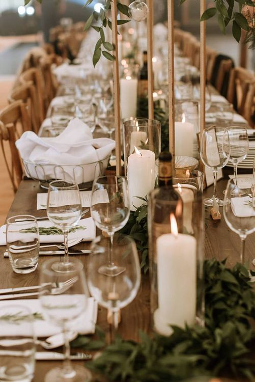 Table Decorations with Candle and Foliage