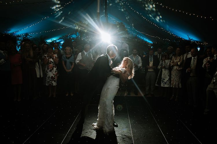 Bride & Groom Dancing in Tent Wedding Venue During Reception