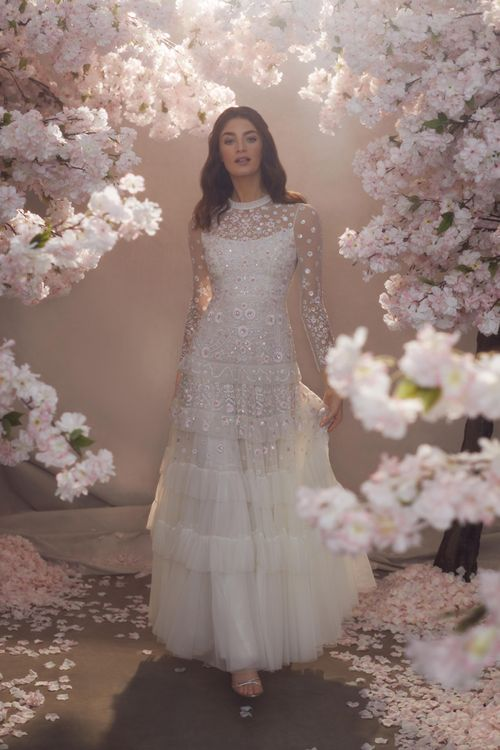 Needle & Thread Sequin and Layered Tulle Wedding Dress with Long Sleeves