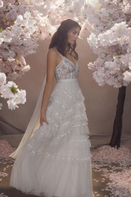 Needle & Thread Layered Tulle Skirt and Embellished Bodice Wedding Dress with Long Sleeves