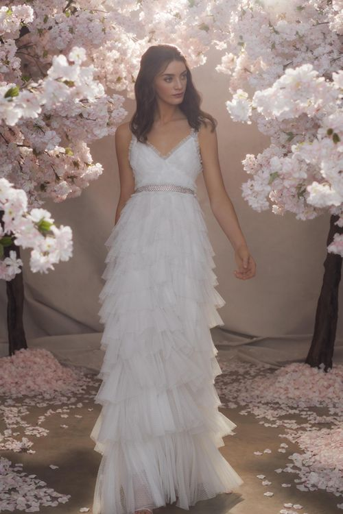 Needle & Thread Layered Tulle Skirt Wedding Dress with Spaghetti Straps