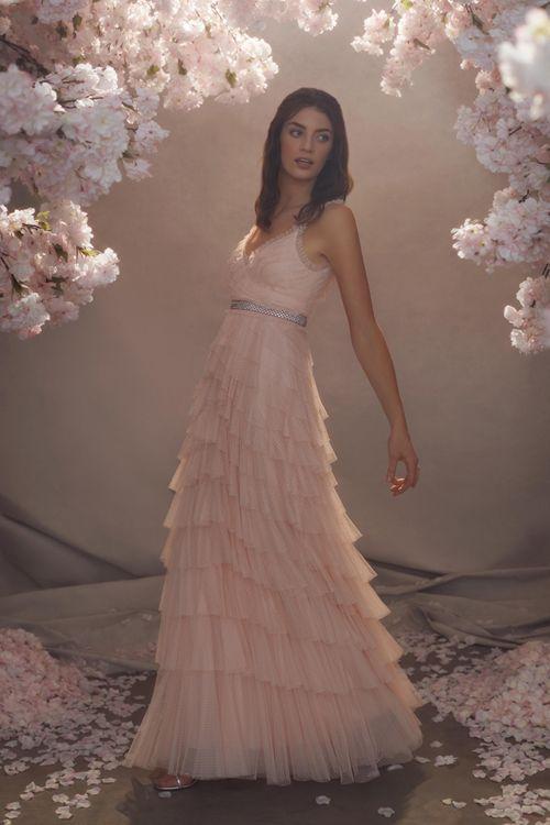 Blush Pink Needle & Thread Layered Tulle Skirt Wedding Dress with Spaghetti Straps
