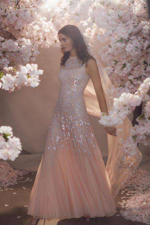 Blush Pink Needle & Thread Tulle Skirt and Sequin Wedding Dress with High Neck