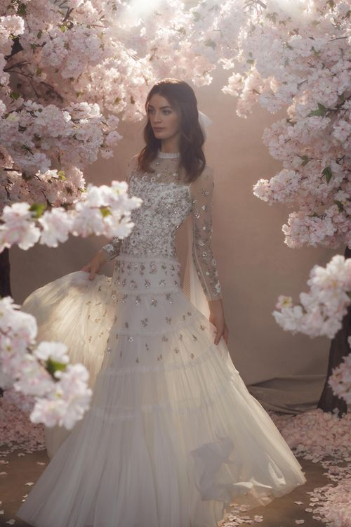 Sequin and Tulle Needle & Thread Wedding Dress with Long Sleeves