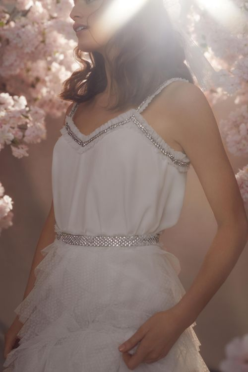 Needle & Thread Wedding Dress with Layered Sequin Skirt and Spaghetti Strap Top