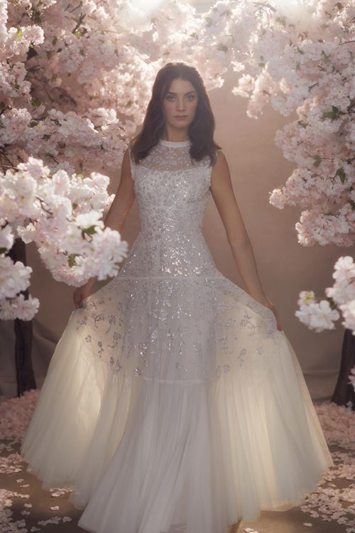 Needle & Thread Sequin and Tulle Wedding Dress with High Neck