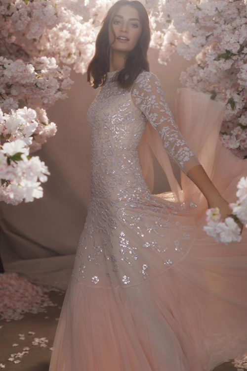 Blush Pink Needle & Thread Tulle Skirt and Sequin Wedding Dress with Three Quarter Sleeves
