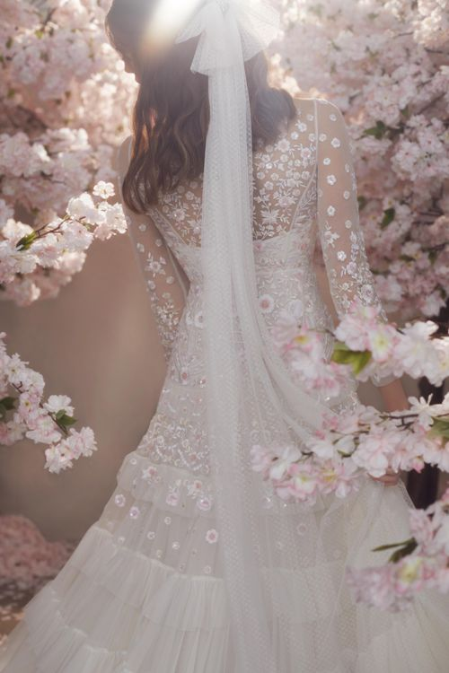 Needle & Thread Polka Dot Tulle Wedding Veil with Bow Detail