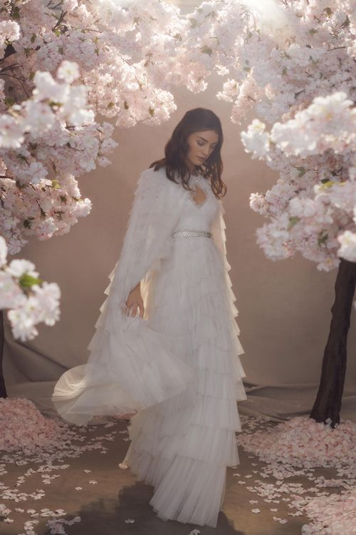 Needle & Thread Layered Tulle Wedding Dress and Bridal Cape