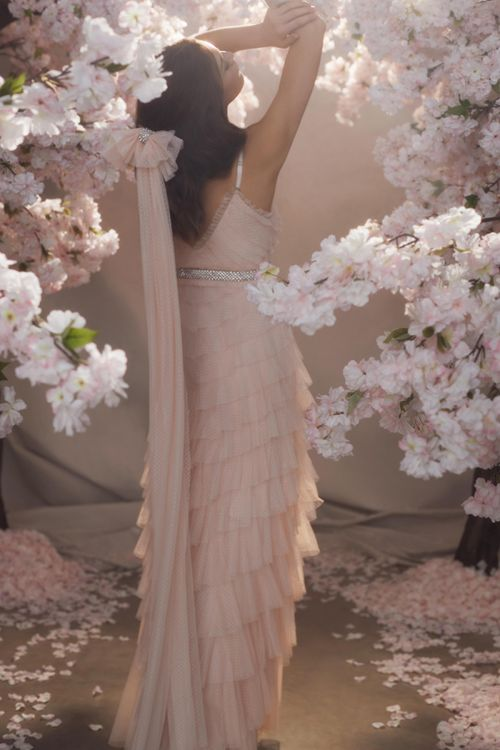 Blush Pink Layered Tulle Wedding Dress and Polka Dot Veil with Bow
