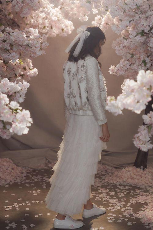 Needle & Thread Layered Tulle Skirt with Embellished Satin Wedding Jacket