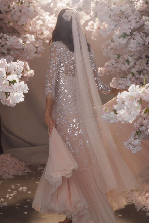 Blush Pink Needle & Thread Tulle Wedding Dress with Sequin Detail, Long Sleeves and Matching Veil