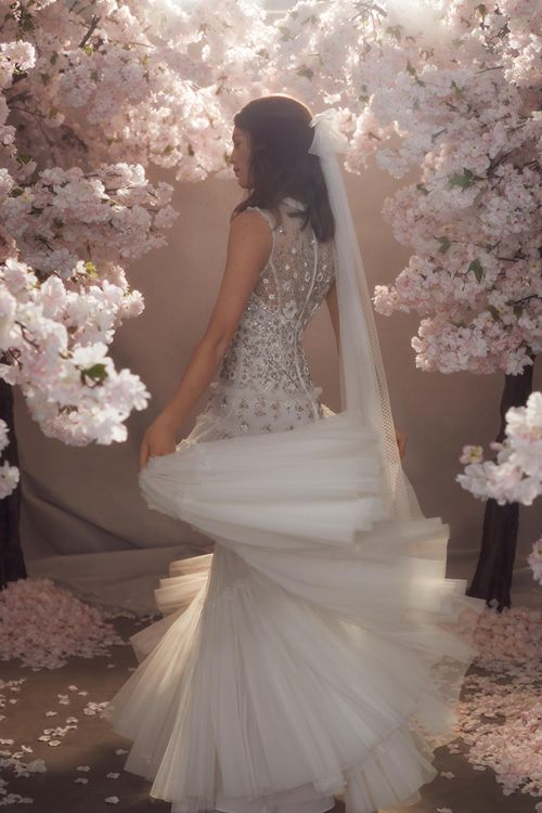 Needle & Thread Tulle Wedding Dress with Sequin Detail, High Neck and Matching Veil