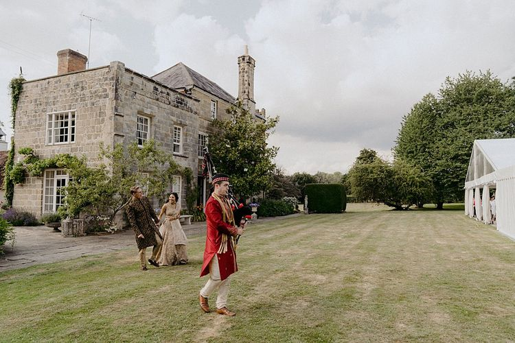 Country House Wedding with Bagpipe Entertainer