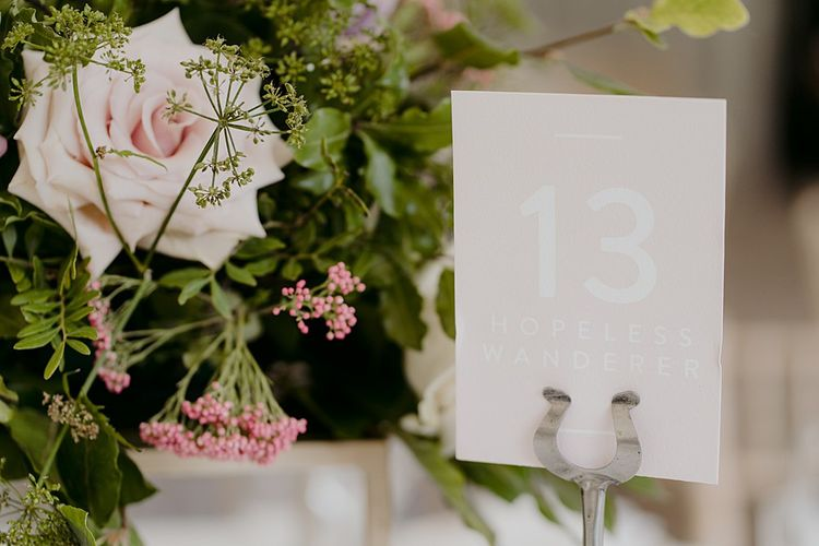 Pink Table Numbers with Flowers