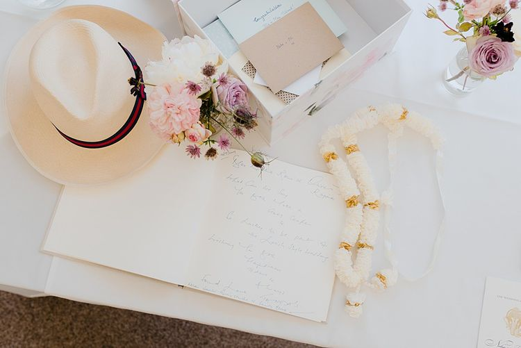 Wedding Guestbook with Pink Flower Decoration