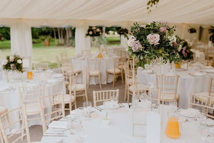 Marquee Reception with Pink Flower Centrepieces