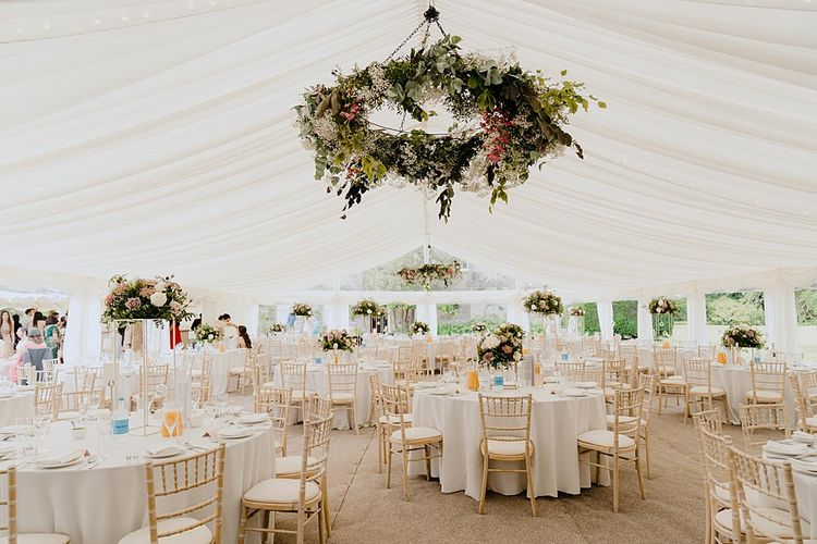 Marquee Reception Venue with Floral Hanging Chandelier