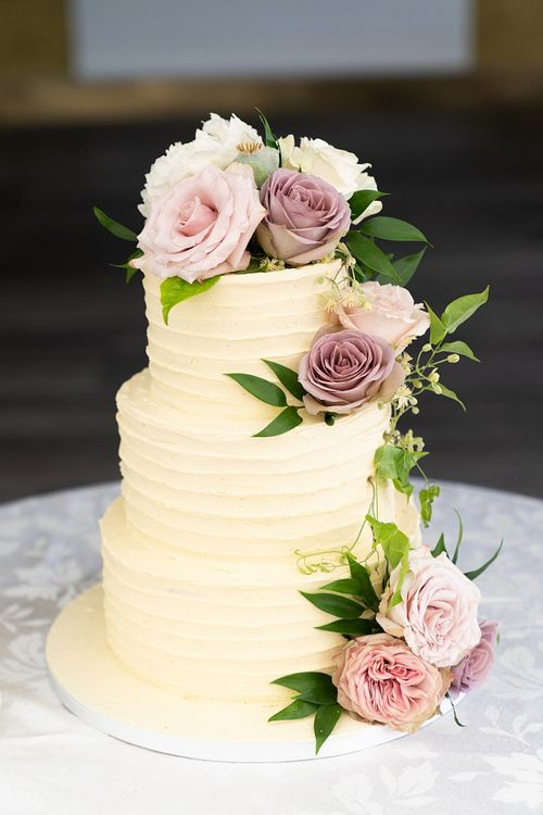 Tiered Wedding Cake with Pink Flower Decoration