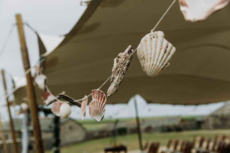 DIY Shell bunting wedding decor