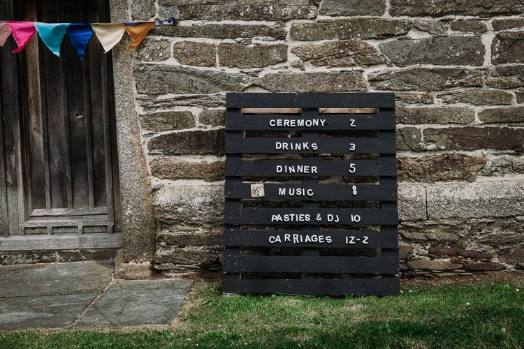 DIY wooden pallet order of the day sign painted black