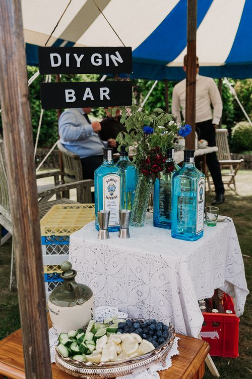 Dry Gin Bar with Bombay Sapphire gin and garnishes