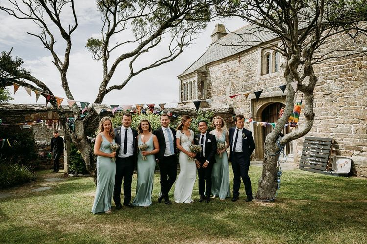 Wedding party portrait at stretch tent ceremony and marquee reception at Roscarrock Farm