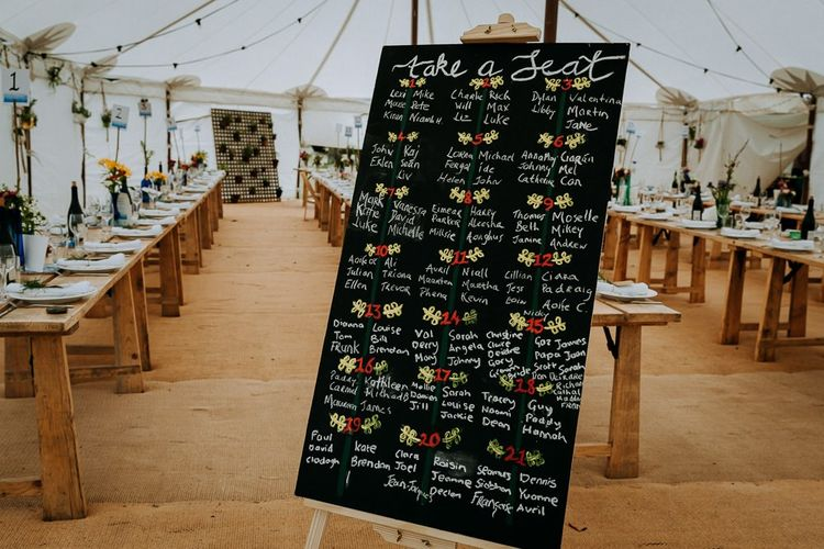 DIY chalkboard seating chart for outdoor stretch tent ceremony  and marquee reception