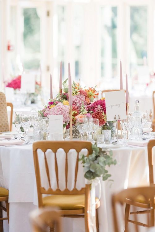 Bright table decor for fusion wedding