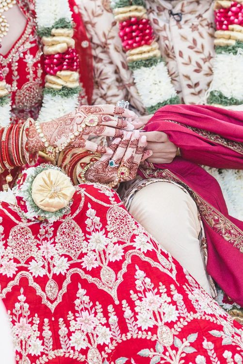 Henna on bride at Hindu wedding ceremony