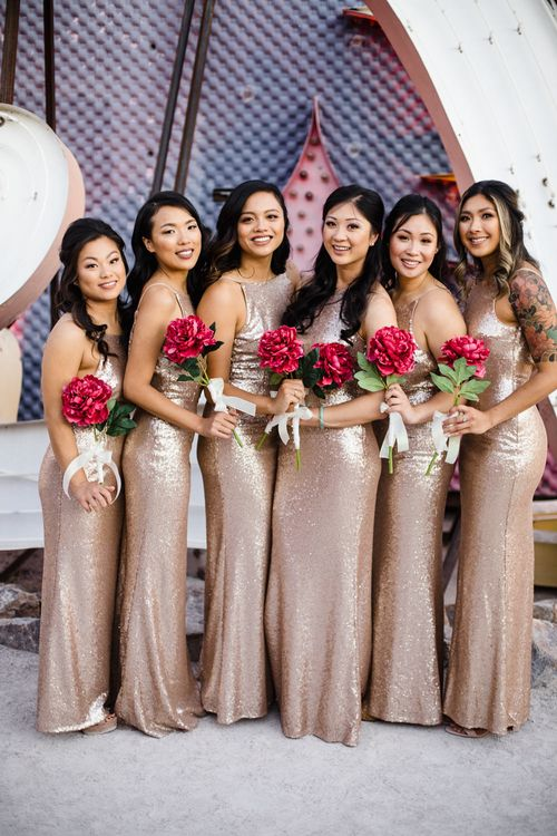 Bridesmaids in Gold Sequin Maxi Dresses with Cowl Back | Fuschia Sweet Pea Spray Silk Flower Bouquets | Las Vegas Wedding with Gold Sequin Bridesmaids Dresses and Silk Flowers | Chris Barber Photography