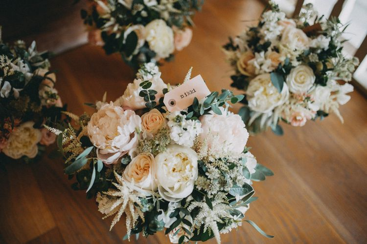 Blush and white wedding flower bouquets