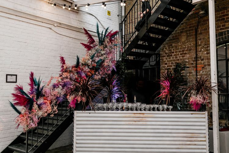 Pink Staircase Wedding Flowers