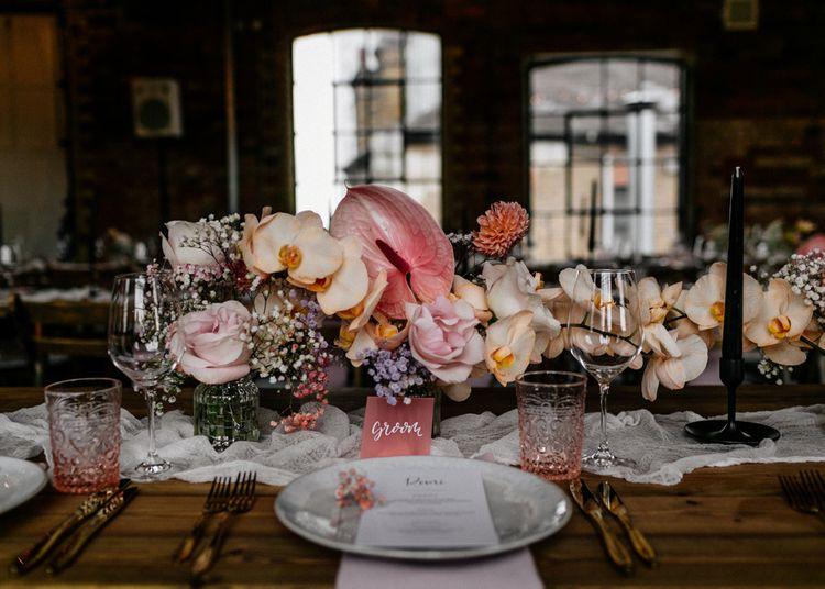 Blush Pink Orchids and Anthurium Wedding Flower Centrepieces