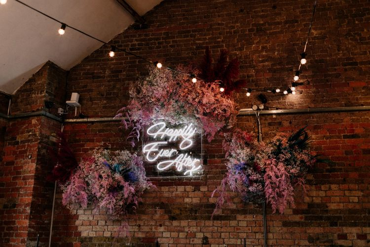 Happily Ever After Neon Sign with Pink Gypsophila Flower Clouds
