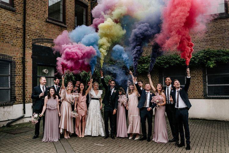 Smoke Bomb Wedding Party Portrait
