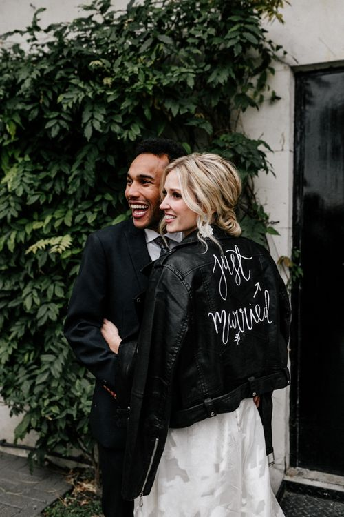 Bride in Just Married Leather Jacket