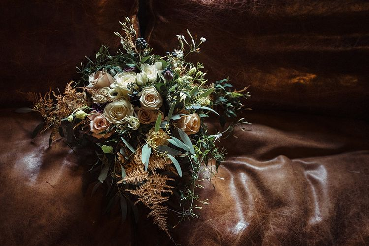 Cream and Vintage Pink Rose Wedding Bouquet