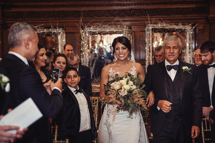 Wedding Ceremony Bridal Entrance with Bride in Lace Pronivias Dralia Wedding Dress