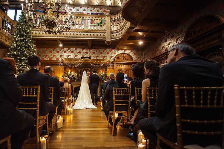 Wedding Ceremony at Thornbridge Hall with Bride in Lace Pronivias Dralia Wedding Dress and Groom in Cad and The Dandy Suit