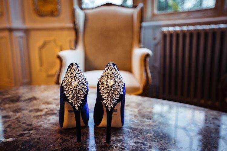 Blue Badgley Mischka Wedding Shoes with Jewel Encrusted Heels
