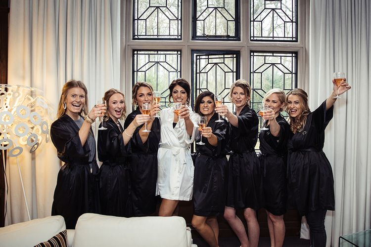 Bridal Party in Matching Getting Ready Robes