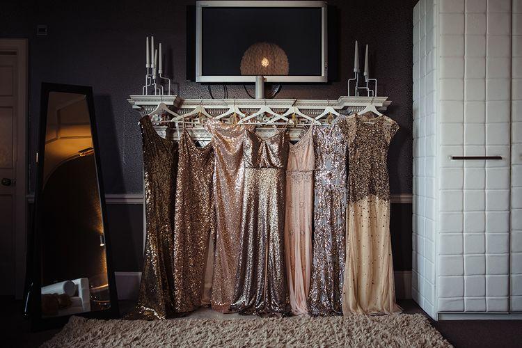 Different Gold Sequin Bridesmaid Dresses