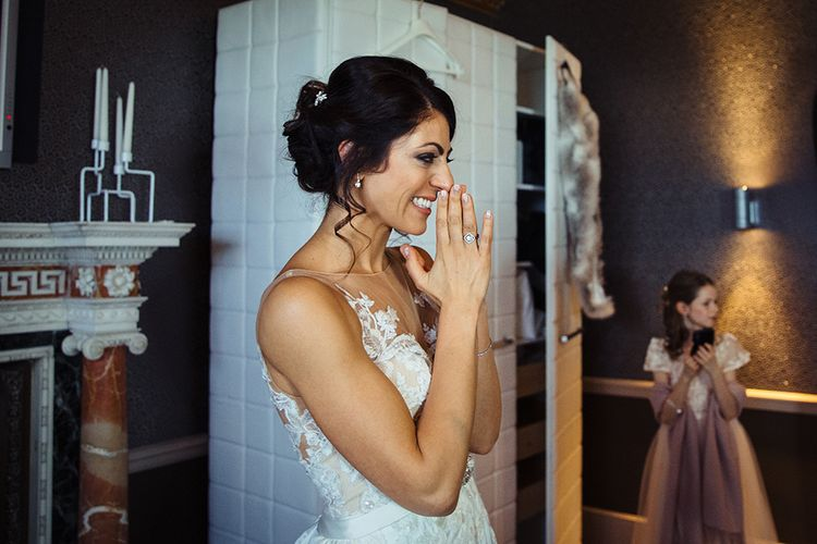 Happy Bride in Lace Pronivias Dralia Wedding Dress