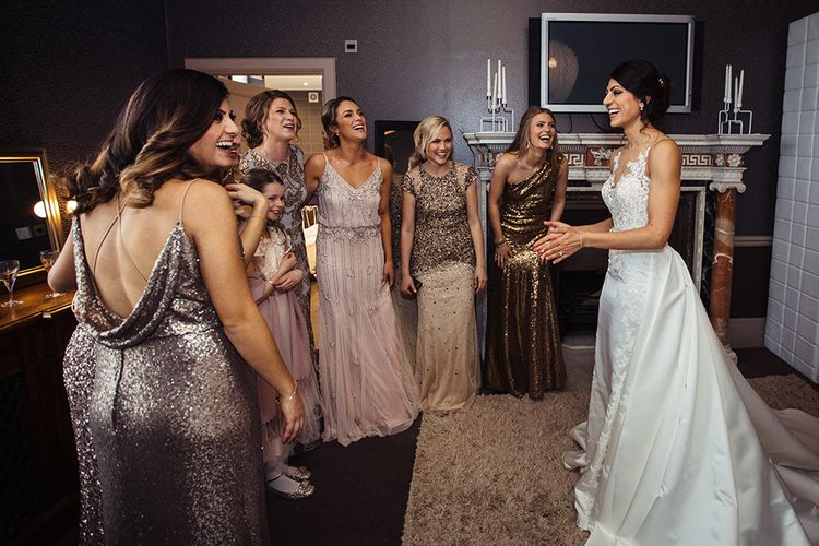 Wedding Morning with Bride in Lace Pronivias Dralia Wedding Dress and Bridesmaids ing Gold Sequin Dresses