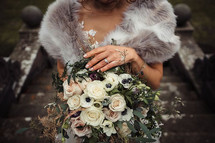 Winter Wedding Bouquet with White Roses and Anemones