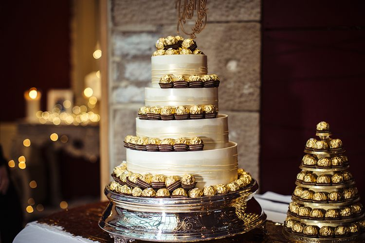 Marks and Spencer Wedding Cake Decorated with Ferraro Roche