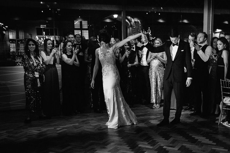 First Dance with Bride in Lace Pronivias Dralia Wedding Dress and Groom in Black Tie Suit